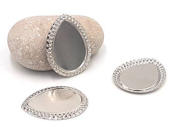 20 supports cabochon shape drop silver 25x18mm