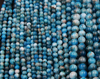 "Natural Blue Apatite 6mm Round Beads 8mm Round Beads 10mm Round Beads 16"" Strand"