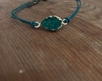 Teal bracelet with gem
