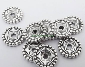 ON SALE 12MM Round Flat Spacer Beads (25) Antique Silver Fancy Disc Spacer Beads Mt1021