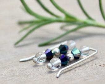 Ear climber earrings, Sterling silver ear climbers, Crystal earrings, Sterling silver earrings, Ear climber silver, Handmade ear climber