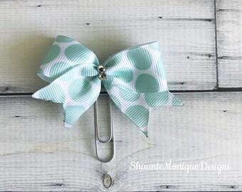 Mint Dot Chic Swarovski Embellished Bow Clip -Planner Clip