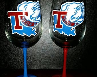 ON SALE Limited Time Only Louisiana Tech hand painted wine glass