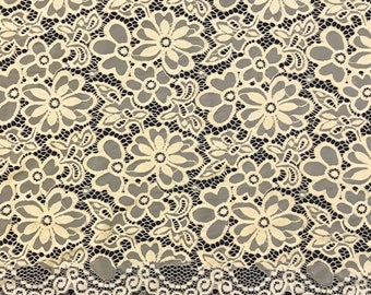"Banana Stretch Lace Fabric Floral Embroidery Poly Spandex 58"" Wide BTY Wedding Apparel Florence"
