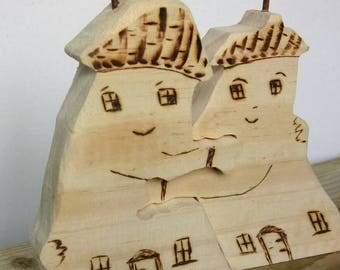 Wooden Houses Hugging Driftwood Cottages Wedding Engagement Love Marriage Family Reclaimed Wood  Rustic New Home Living Room Unusual Gift
