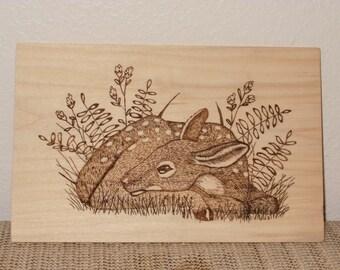 Fawn Deer Wall Decor; Woodland Animals; Rustic Wood Art; Wooden Wall Plaque; Nursery Wall Art; Nature Lover Gift; Wood Burning Art; Hazelnut