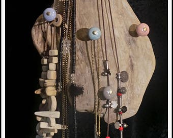 Driftwood jewelry display. Very original creation
