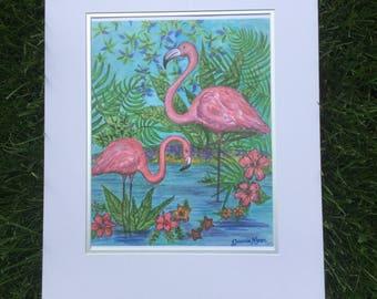 Pink Flamingos print