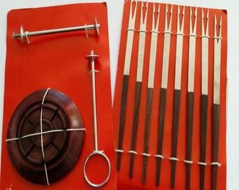 Vintage Fondue Fork Set with wood stand/holder, Fondue Fork Set, Vintage Made in Japan Fondue Fork Set 8 Forks, Stainless Steel Fondue Set