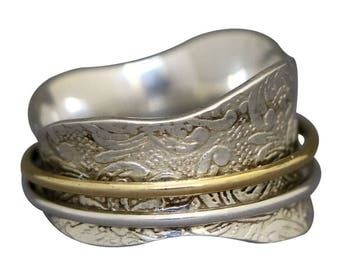 """Meditation Ring """"SUNRISE""""  with 1 Brass 1 Silver Spinners on Etched Floral & Leaf Pattern by Energy Stone (Style# US44)"""