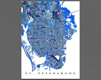 St Petersburg Florida, St Petersburg Map Art Print, FL City Maps