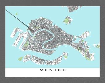Venice Map Print, Venice Italy, Travel Print, Venezia, Venice Art