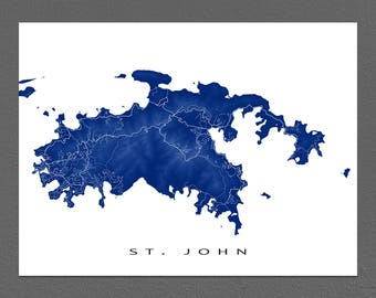 St John Map Print, US Virgin Islands, Caribbean Island Art, USVI