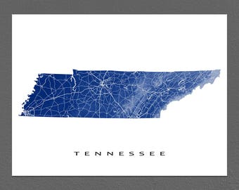 Tennessee Map, Tennessee State Art Print, TN Wall Decor, Nashville, Memphis, Knoxville