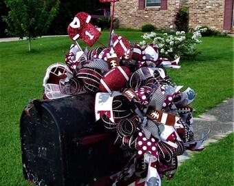 Alabama Mailbox Swag, Crimson tide, Bama, deco mesh, Football mailbox topper, mailbox cover, custom made, ready to ship,