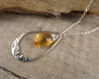 Citrine gemstone pendant~gemstone necklace~wire wrapped pendant~sterling silver pendant~minimalist jewellery~layering pendant~gem pendant