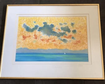 Large Original Watercolour Titled 'Great Sky Small Boat' By Rowell Tyson