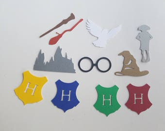 Harry Potter Confetti - Set of 160 - Harry Potter Party, Dobby, Hogwarts, Owl, Hedwig, Gryffindor, Slytherin, Hufflepuff, Ravenclaw