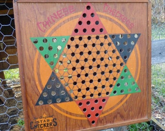 Vintage Wooden Chinese Checkers Game Board The Original Star Checkers