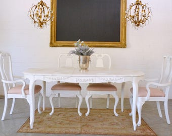 Shabby Cottage Chic Stunning Dining Table With 1 Leaf Vintage French Style  Furniture #C1065