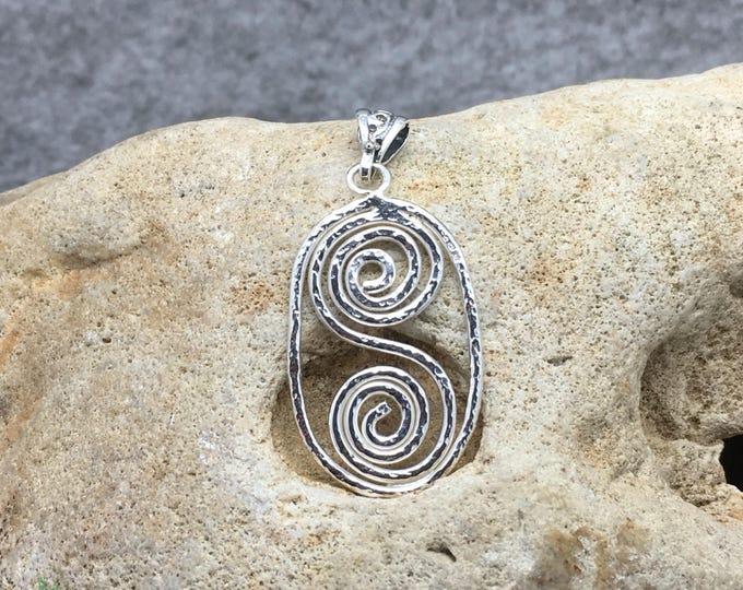Handcrafted Sterling Silver Hammered Spiral Pendant.