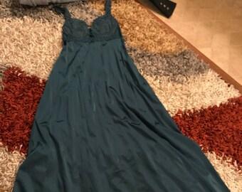Rare Vintage Teal Olga Nightgown
