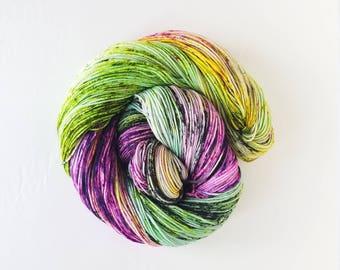 Frankenstein, blacklight reactive ,   hand painted indie yarn