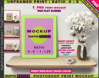 Unframed Print Ratio 4:5 PSD Mockup | Portrait & Landscape Print on Wooden Shelf with Flowers 810-UFP-2 | 8x10 | 16x20 | 24x30