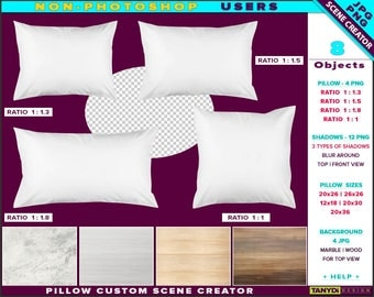 Custom Scene Creator White Pillows SC-M7   Non-Photoshop   PNG Pillows   Marble Wood backgrounds   12x18 20x26 20x30 20x36 26x26
