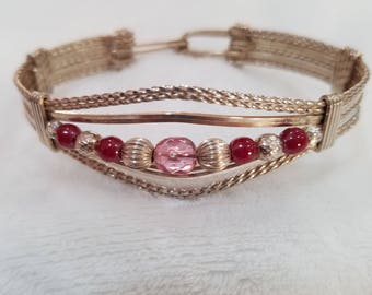 Sterling Silver Wire Wrapped Bracelet with Dark Pink and Light pink Beads