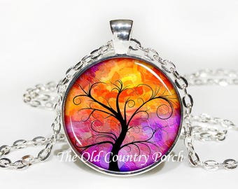 Tree of Life-Sunset  -Glass Pendant Necklace/Graduation gift/mothers day/bridal gift/Easter gift/Gift for her/girlfriend gift/friend gift