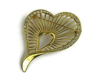 Roman Rhinestone Heart Brooch
