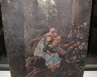 Paper reproduction of the painting Ivan Tsarevich on Gray Wolf. USSR 1968