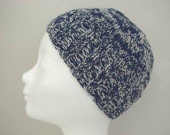 Blue beanie, hand knit hat dark blue white kids hat size 6 - 11 yrs silk alpaca multi color hat boy girl hat child navy beanie Snowy Hill