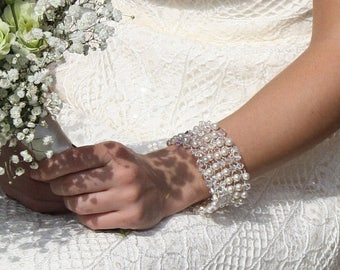Sale Beaded Bridal bracelet Pearl and crystal bridal cuff, crystal bracelet, pearl cuff wedding jewellery, bridal cuff, bracelet beaded cuff