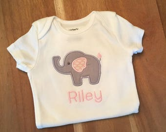Gray and Pink Baby Elephant Onesie : appliqued + personalized, name, animal