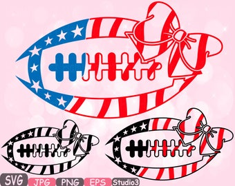 American flag Football Bow Sports Studio 3 Silhouette cutting files svg clipart monogram svg t-shirt files for silhouette cameo cricut -481S