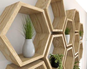 Hexagon Wall Shelves Handmade in Solid Oak | Solid Oiled Oak Hexagon Wall Shelves