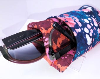 Batik Double Eyeglass Case, Colorful Eyeglasses Case, Double Pocket Sunglasses Pouch, Eyeglasses Organizer, Soft Eyeglass Case