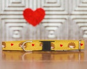 Hedgehog Cat Collar, Cute, Adorable, Yellow, Hearts, Valentines, Breakaway Cat Collar