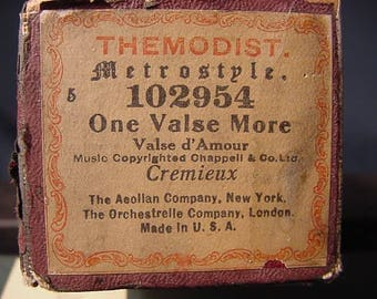 One Valse More * Vintage Old Collectible * Player Piano Roll * Free Shipping USA