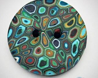 """Buttons round green """"Klimt 4"""" Polymer Clay"""