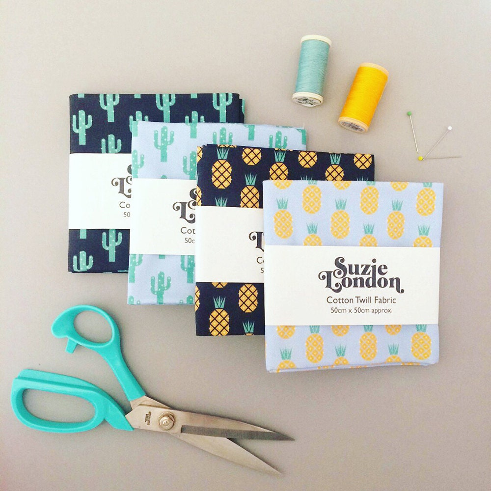 Suzie London Disco Pineapple and Sparkly Cactus cotton twill fabric FQ fat quarters, as seen in Mollie Makes magazine