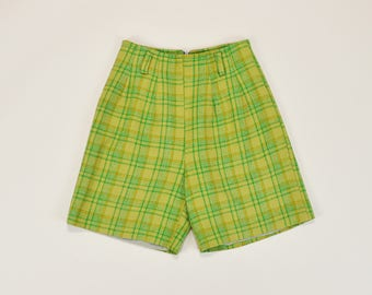 60s Plaid Shorts, High Waisted Shorts, Vintage 60s Shorts, Retro 60s Mod Shorts, Lime Green Shorts, Pleated Trousers Shorts - Small