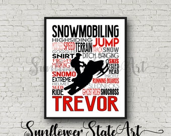Personalized Snowmobiler Poster, Snowmobile Typography, Snowmobiling Print, Gift for Snowmobiler,  Snomo Poster,  SnoCross Poster