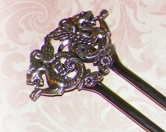 Silver Hair Stick Fork Victorian Dragon Medieval LARP Renaissance Wedding Vintage Style Bridal Pin Pick Comb Hair Barrette Stick Pin