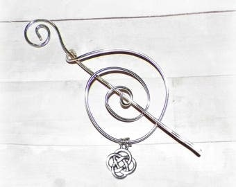 Shawl Pin Mimimalistic Celtic Silver Brooch Vintage Hammered Minimalist Style Scarf Pin Outlander Stick Pin Outlander