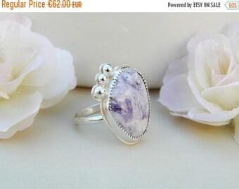 ON SALE 10% Sterling silver ring, soft ring, bertrandite ring, romantic ring, tiffany bertrandite, size 58,handmade