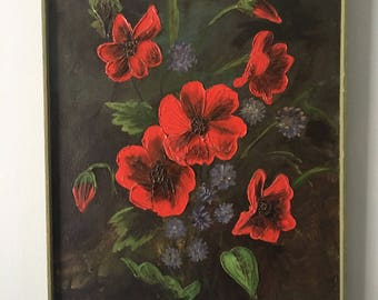 Stunning 1970s signed oil painting- large red & purple flower still life in green wood frame for a tropical Old Florida home!