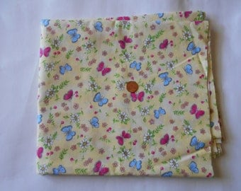 Two Yards of Fabric - Butterflies in red and blue with White Flowers on a Yellow Background